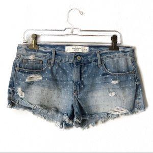 Abercrombie & Fitch Demin Silver Polka Dot Shorts